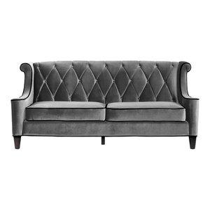 Barrister Tufted Velvet Sofa, Gray