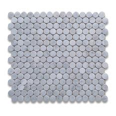 Stone Center Corp 12 X12 Carrara White Penny Round Mosaic Tile Polished