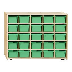 Contender 25 Tray Storage, With Lime Green Trays/Assembled With Casters