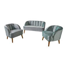 GDF Studio 3-Piece Scarlett New Velvet Loveseat Club Chair Set Seafoam Blue
