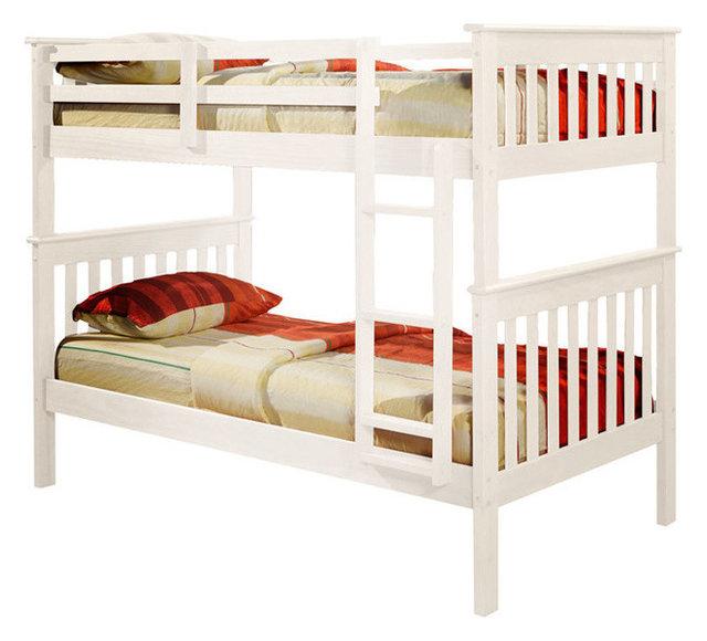 Nebula Bunk Bed With Ladder u0026 2 Underbed Storage Drawers White Twin Over Twin  sc 1 st  Houzz & Nebula Bunk Bed With Ladder u0026 2 Underbed Storage Drawers White ...