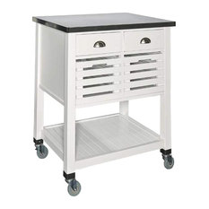 Contemporary Kitchen Cart Slatted Doors And 2 Small Drawers White-Silver