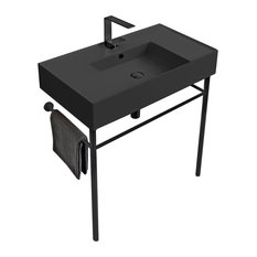 Matte Black Ceramic Console Sink And Matte Black Stand One Hole