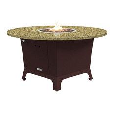 """Fire Pit Table 55""""D, Propane, Santa Cecillia Granite Top, Dark Cherry"""
