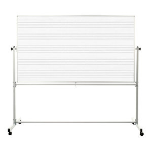 "Luxor 72""W x 48""H Mobile Double Sided Magnetic Music Notation Whiteboard - 1Pack"