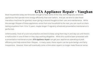 Small Appliance Repair Service Vaughan - GTA Appliance Repair (647) 258-4259