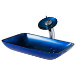 """Kraus - Kraus C-GVR-204-RE-10CH Irruption Blue Rectangular Glass Vessel Sink and Waterfa - Kraus C-GVR-204-RE-10CH Irruption Blue Rectangular Glass Vessel Sink and Waterfall Faucet Chrome. Add a touch of color to your bathroom with a Kraus glass vessel sink and faucet combination. Handcrafted from tempered glass, the modern bathroom sink coordinates with a variety of décor styles. A freestanding basin design creates a dramatic look with contemporary appeal. Vessel installation offers an easy top mount option for all your stylish bathroom ideas. The textured surface of the sink is dynamic and requires minimal maintenance to keep clean. Pair it with a waterfall faucet with matching glass disk for additional value, and create an instant style upgrade for less. Benefits & Features Tempered Glass Construction Designed for Easy Above-Counter Installation Easy-to-Clean Polished Surface is Scratch & Stain-Resistant Standard 1.75"""" Drain Opening Works w/ Pop-Up Drains w/o Overflow Brass Construction for Maximum Durability Single Lever Design for Effortless Flow Control Premium Finish is Corrosion & Rust-Resistant Faucet Disk Creates a Dynamic Surface for Flowing Water Designed for Use w/ Standard U.S. Plumbing Connections Limited Lifetime Warranty Sink Certifications and listings: UPC, cUPC, CSA, IPC, IAPMO, ANSI and SCC Faucet Certifications: cUPC, AB 1953, NSF 61, NSF 372, DOE, CEC, MASS, FTC Sink Height: 4 inches Sink Dimensions: 22"""" L x 14"""" W x 4"""" H Glass Thickness: 15 mm number of holes required: 2 sink drain hole size requirement: 1.75 inch faucet hole size requirement: 1.375 inch distance between holes: 8.94 inches maximum countertop thickness: 1.75 inches faucet height: 13 inches spout height: 8 inches spout reach: 5.5 inches"""