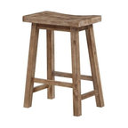 Sonoma Saddle Seat Counter Stool, Wire-Brushed Finish