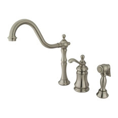 Single Handle Widespread Kitchen Faucet with Brass Sprayer KS7808TPLBS