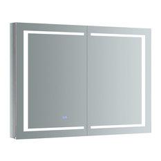 "Spazio Bathroom Medicine Cabinet With LED Lighting and Defogger, 48""x36"""