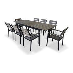 Shirona 9-Piece Dining Set, Rustic Gray