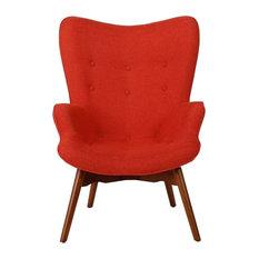 GDF Studio Acantha Mid Century Modern Retro Contour Chair Muted Orange