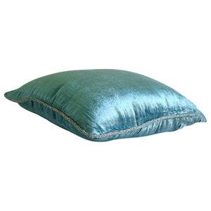 Handmade Blue Velvet Cushions Cover, 50x50 Velvet Cushion Covers, Blue Shimmer