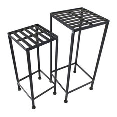 """Iron Plant Stand, 2 Nested, Black, IRON PLANT STAND, 2 NESTED, BLACK"""""""