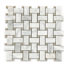 "12""x12"" Carrara White Basketweave Mosaic, Gray Dots Polished, Chip Size: 1""x2"""