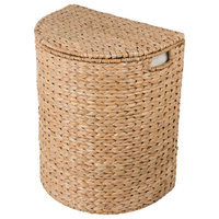 Sea Grass Half Moon Hamper/Laundry Basket With Removable Liner, Natural Color