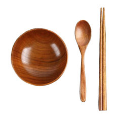 Japanese Wooden Tableware Set Wooden Bowl and Adults#01