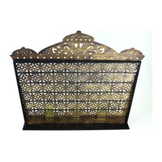 Fireplace Screen, Distressed Gold, Moroccan With Removable Hurricanes