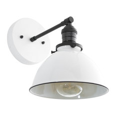 Industrial Wall Sconce, White Metal Shade
