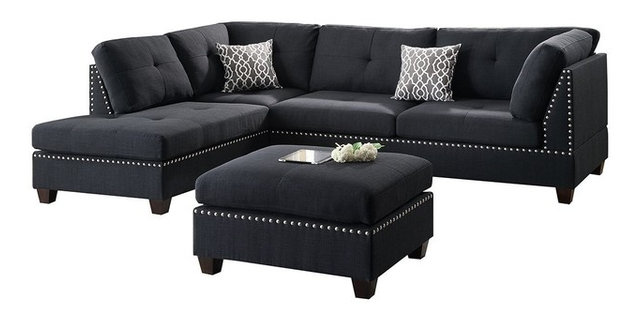 3 Piece Reversible Chaise Sectional Sofa Set, 2 Accent Pillows, Black  Polyfiber