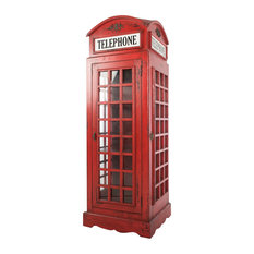 Vintage Red Phone Box Bookcase