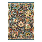 Dense Peony Tree Of Life Area Rug, Blue, 8'x10'