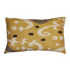 Pillow Decor - Indah Ikat Yellow 12 x 20 Throw Pillow