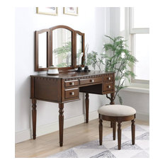 Acme Corbulo Vanity Set With Tan Fabric and Cherry