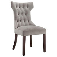 Dorel Living Clairborne Tufted Dining Chair, 2 Pack, Taupe , Espresso
