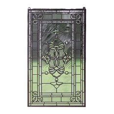 """Stained Glass Clear Beveled Window Panel, 20.5""""x34.5"""""""