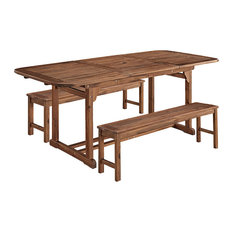 Walker Edison - 3-Piece Dark Brown Acacia Patio Dining Set - Outdoor Dining Sets