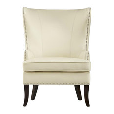 Moore - Leather Wing Chair With Nailhead, Ivory - Armchairs and Accent Chairs