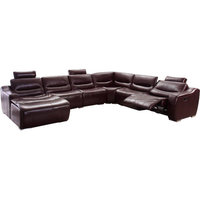 2144 Italian Leather Sectional Sofa with Recliner in Brown, Left Facing Chaise