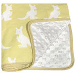 Pam Grace Creations - Kangaroo Baby Blanket - This safari-themed Kangaroo baby blanket has chenille dots on one side with Kangaroo prints on the opposite. Finished with a nice binding.  Great for swaddling, cuddling, keeping baby warm or and a blankie!