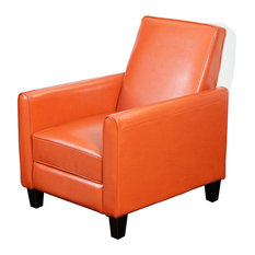 GDFStudio - Lucas Modern Design Recliner Club Chair  Orange - Recliner Chairs  sc 1 st  Houzz & Leather Wingback Recliner Chair | Houzz islam-shia.org