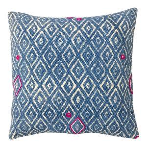 Indigo Batik Cushion, Diamond, Filled