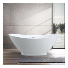 """Vanity Art Freestanding Acrylic Bathtub, 33.5""""x92"""""""