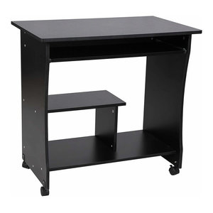 Modern Movable Desk, Black Particle Board With Sliding Keyboard and Shelf
