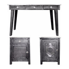 3 Piece Of Traditional Style Wooden Console Table With Desk Gray