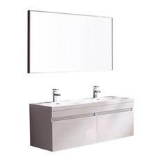 "56.63"" Fresca Largo Bathroom Vanity, Wavy Double Sinks, Fortore Chrome Faucet"