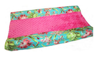 Changing Pad Cover, Floral Minky, Coral Minky