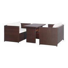 vidaXL 3 Piece Garden Lounge Set with Cushions Poly Rattan Brown Outdoor Seat