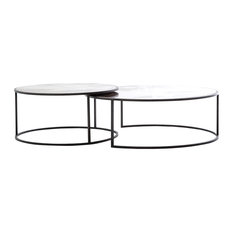 Ariel Industrial Loft Copper Studded Nesting Coffee Table - Pair