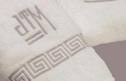 Greek Key Custom Embroidered Bath Towels