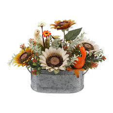"10"" Sunflowers and Pumpkins Mix, Tin"