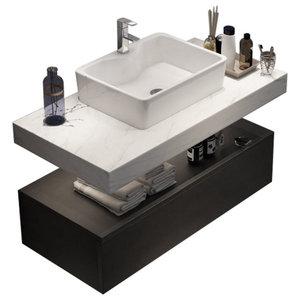 Modern Floating Wall Mounted Bathroom Vanity Sink Set Faux Mable Top Vessel Sink Modern Bathroom Vanities And Sink Consoles By Goeya Llc Houzz