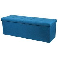 "45"" Vivid Smart Lift Top Tweed Linen Storage Ottoman, Royal Blue"