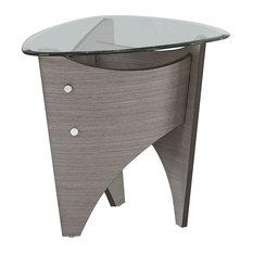 Progressive Tristar 22-inch Round Glass Top End Table In Gray Walnut