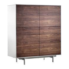 Siviglia 4-Door Tall Sideboard, Dark Walnut and Matte White
