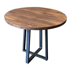 Round Industrial Reclaimed Wood Pub Table 36""